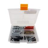 مجموعه 130 عددی پیچ و رولپلاک و میخ مهر مدل DDB-130 به همراه جعبه ابزار مهر مدل ORG-7 سایز 7 اینچ