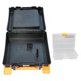 مجموعه جعبه دریل زرد مشکی به همراه جعبه نظم دهنده مهر پلاستیک