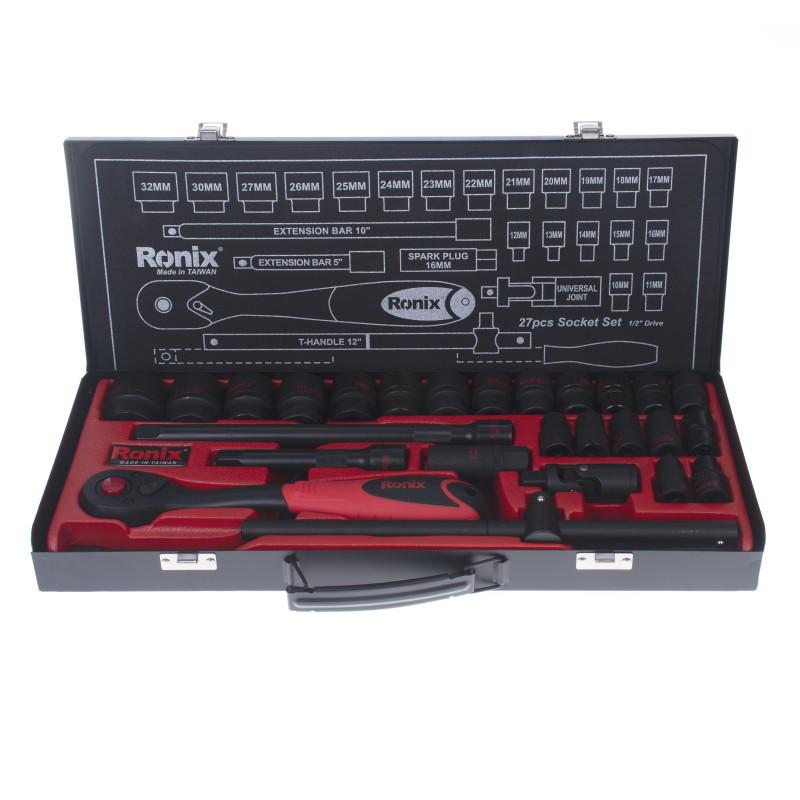 مجموعه 27 عددی آچار بکس و سری بکس رونیکس مدل RH-2627 با سری های 6 گوشه
